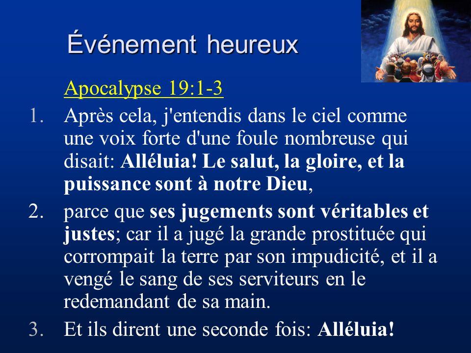 Événement heureux Apocalypse 19:1-3 1.Après cela, j'entendis dans le ciel comme une voix forte d'une foule nombreuse qui disait: Alléluia! Le salut, l