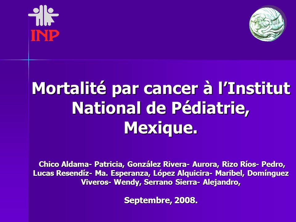 Mortalité par cancer à lInstitut National de Pédiatrie, Mexique. Chico Aldama- Patricia, González Rivera- Aurora, Rizo Ríos- Pedro, Lucas Resendíz- Ma