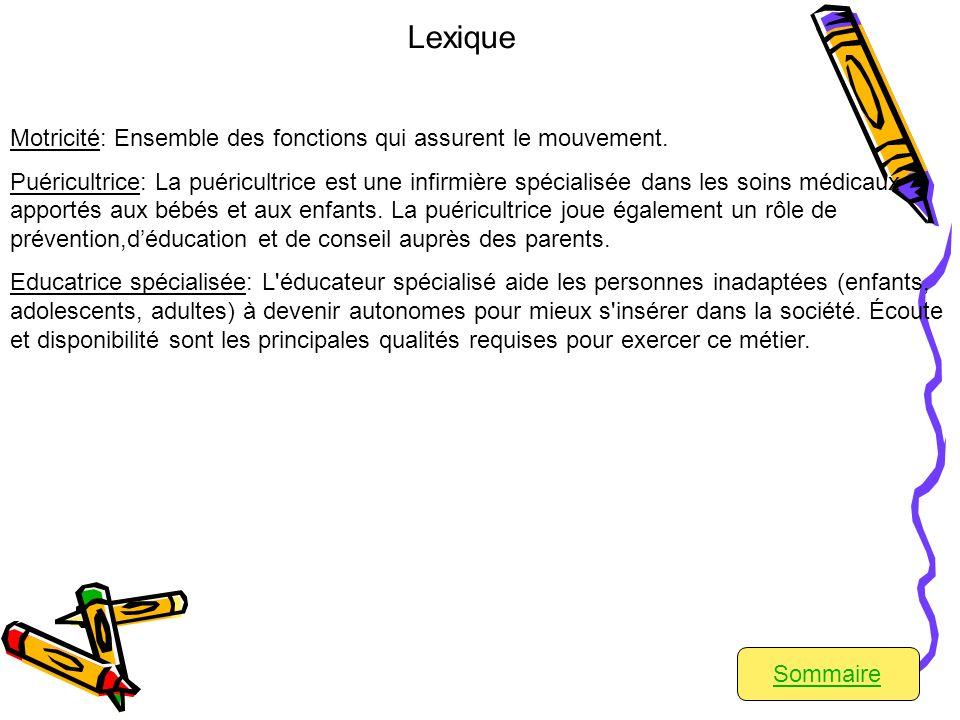 Sommaire Lexique Motricité: Ensemble des fonctions qui assurent le mouvement.