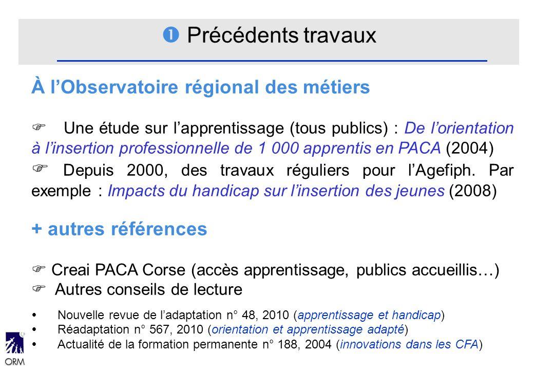 Précédents travaux À lObservatoire régional des métiers Une étude sur lapprentissage (tous publics) : De lorientation à linsertion professionnelle de