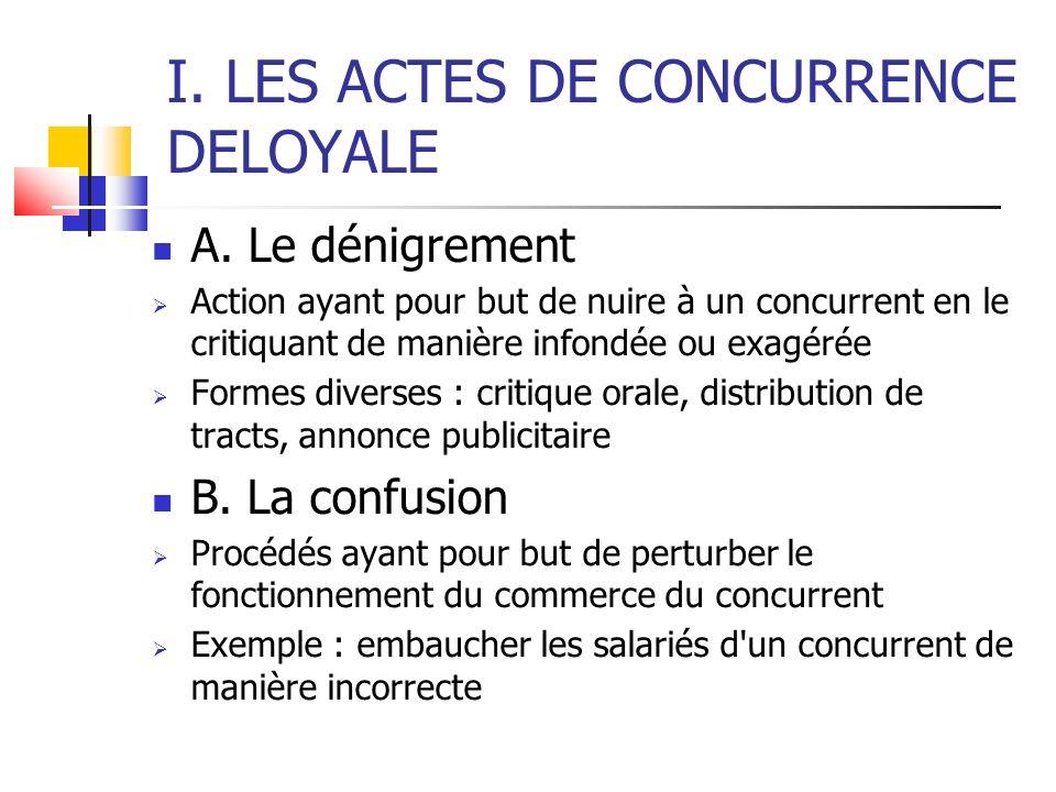 I. LES ACTES DE CONCURRENCE DELOYALE A. Le dénigrement Action ayant pour but de nuire à un concurrent en le critiquant de manière infondée ou exagérée