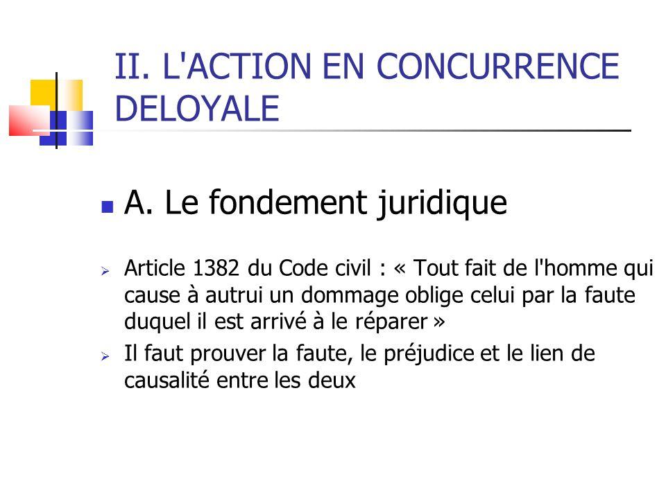 II. L'ACTION EN CONCURRENCE DELOYALE A. Le fondement juridique Article 1382 du Code civil : « Tout fait de l'homme qui cause à autrui un dommage oblig