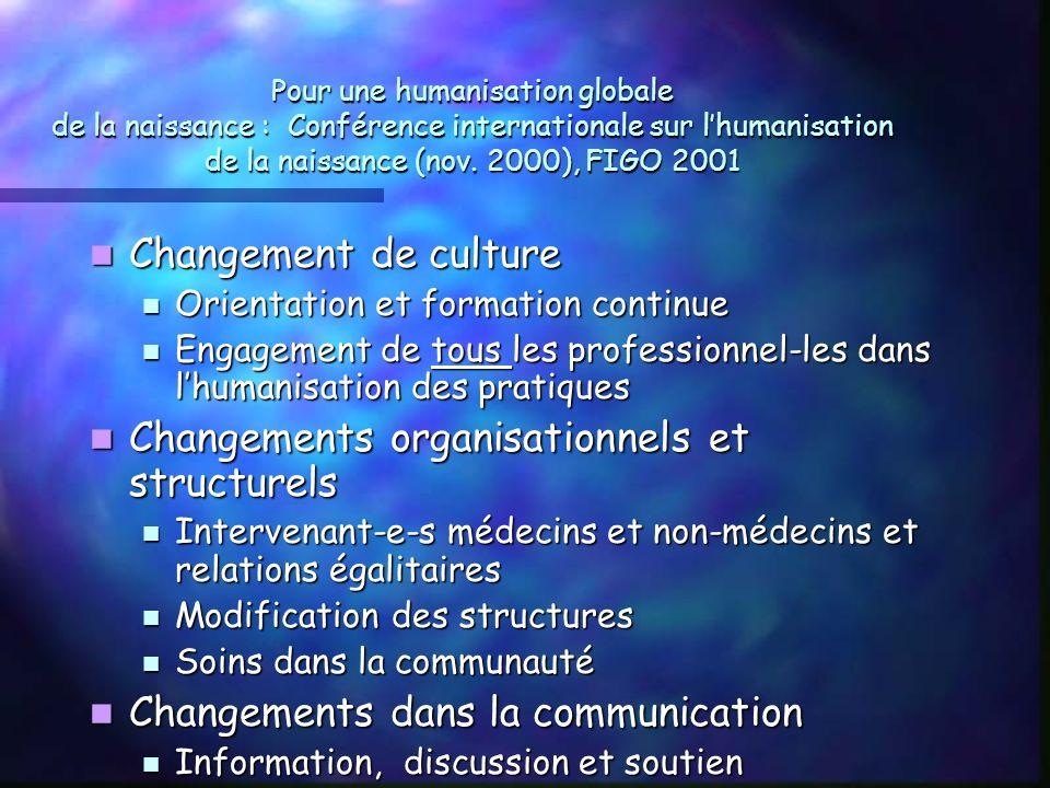 Pour une humanisation globale de la naissance : Conférence internationale sur lhumanisation de la naissance (nov.