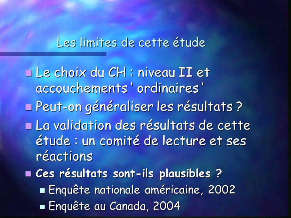 Les limites de cette étude Le choix du CH : niveau II et accouchements ordinaires Le choix du CH : niveau II et accouchements ordinaires Peut-on généraliser les résultats .