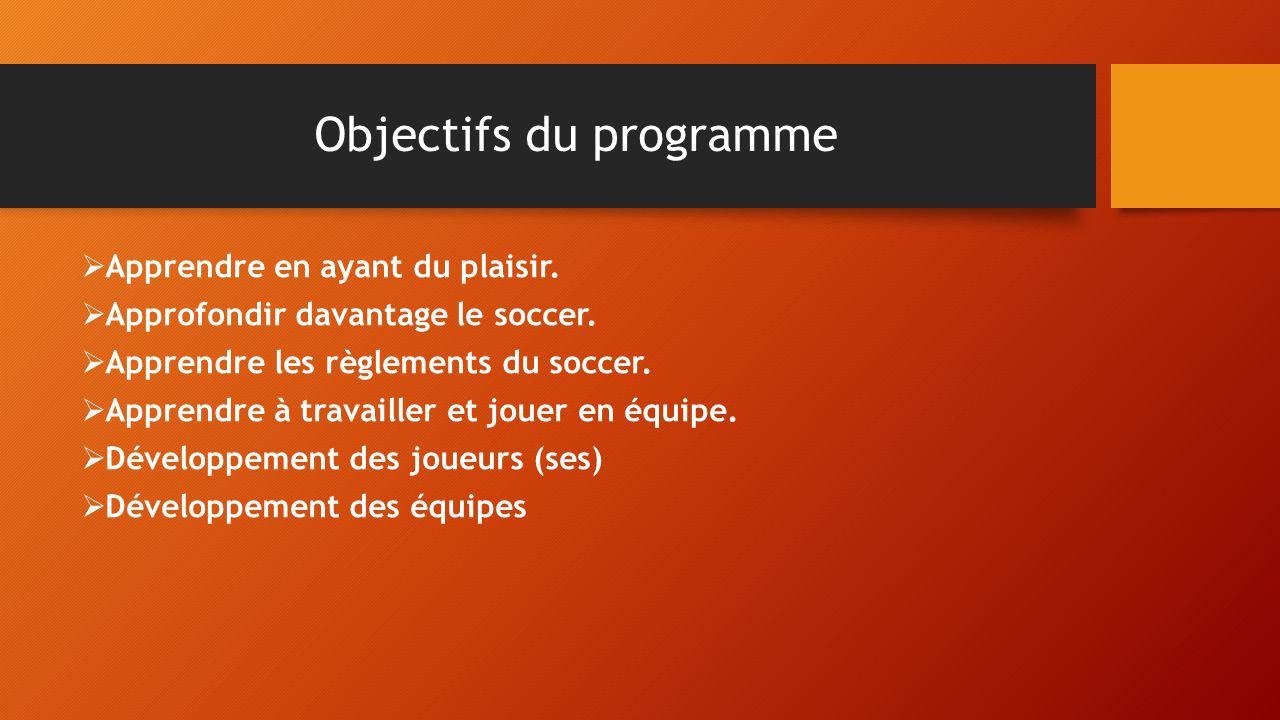 Objectifs du programme Apprendre en ayant du plaisir. Approfondir davantage le soccer. Apprendre les règlements du soccer. Apprendre à travailler et j