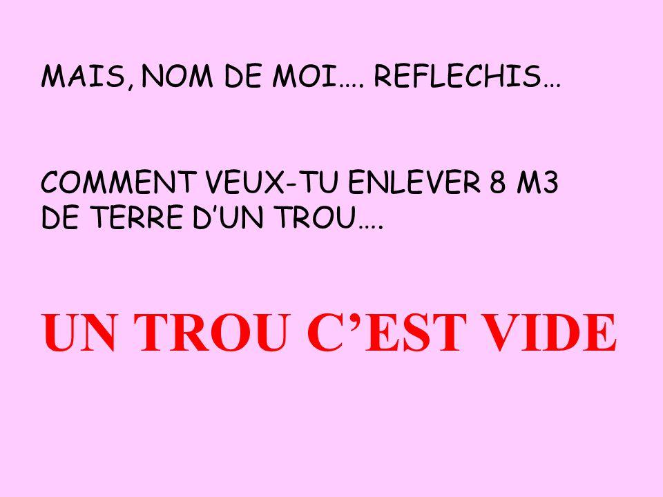 MAIS, NOM DE MOI…. REFLECHIS… COMMENT VEUX-TU ENLEVER 8 M3 DE TERRE DUN TROU…. UN TROU CEST VIDE