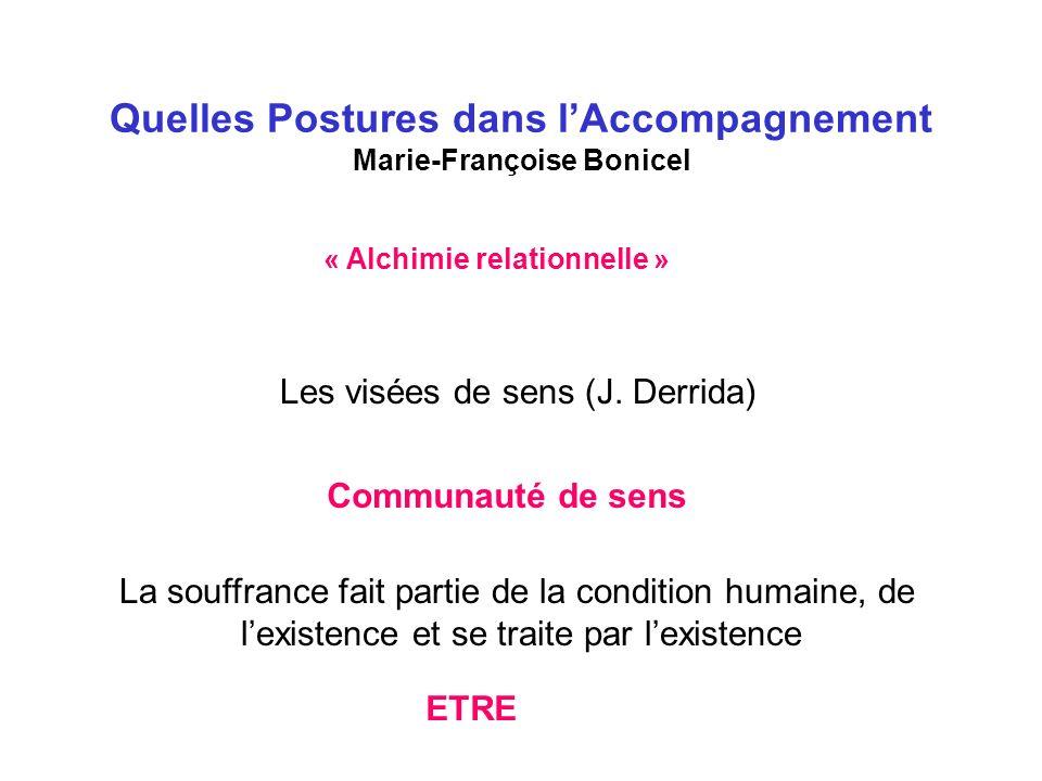 Quelles Postures dans lAccompagnement Marie-Françoise Bonicel « Alchimie relationnelle » Les visées de sens (J.