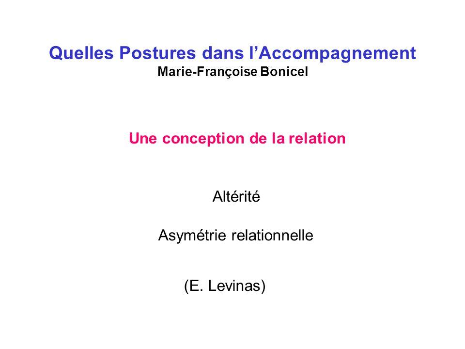 Quelles Postures dans lAccompagnement Marie-Françoise Bonicel Une conception de la relation Altérité Asymétrie relationnelle (E.