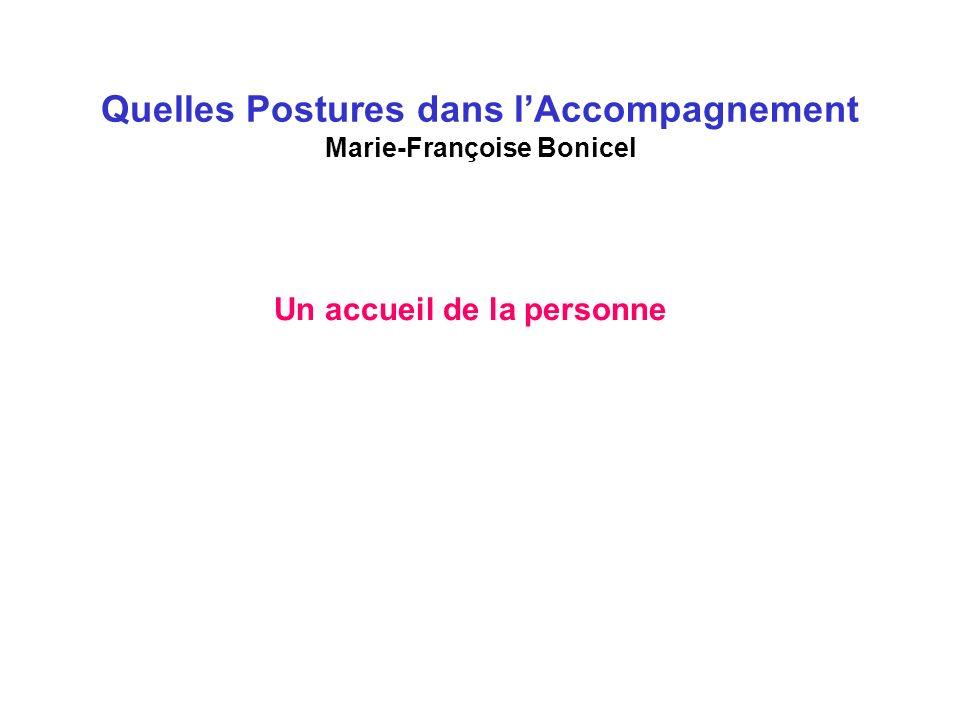 Quelles Postures dans lAccompagnement Marie-Françoise Bonicel Un accueil de la personne