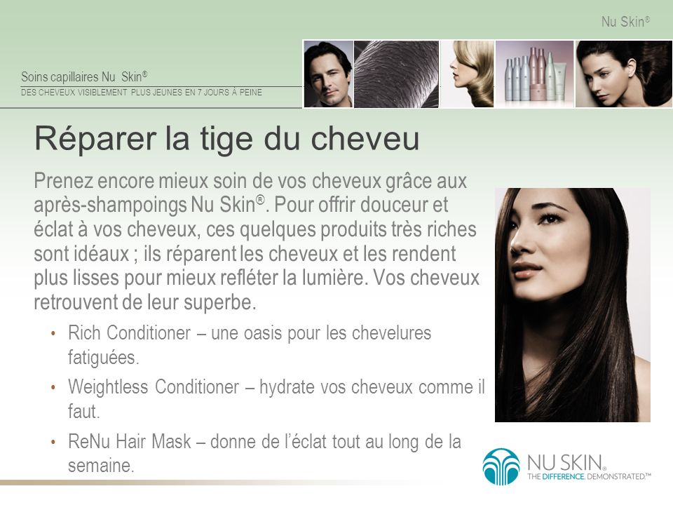 Soins capillaires Nu Skin ® DES CHEVEUX VISIBLEMENT PLUS JEUNES EN 7 JOURS À PEINE Nu Skin ® Réparer la tige du cheveu Prenez encore mieux soin de vos