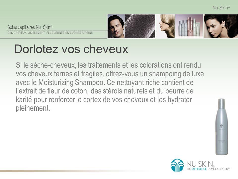 Soins capillaires Nu Skin ® DES CHEVEUX VISIBLEMENT PLUS JEUNES EN 7 JOURS À PEINE Nu Skin ® Dorlotez vos cheveux Si le sèche-cheveux, les traitements