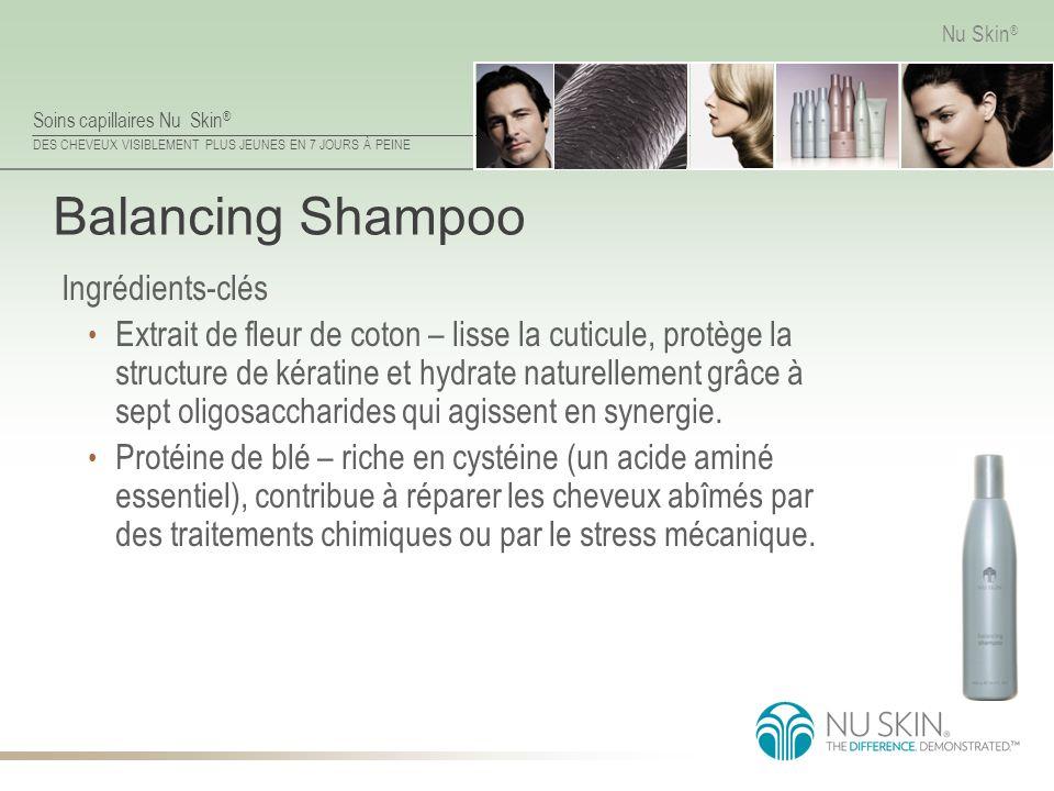 Soins capillaires Nu Skin ® DES CHEVEUX VISIBLEMENT PLUS JEUNES EN 7 JOURS À PEINE Nu Skin ® Balancing Shampoo Ingrédients-clés Extrait de fleur de co