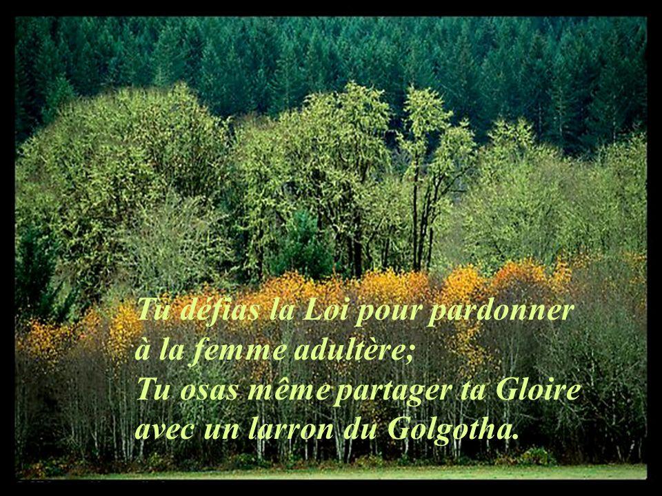 Tu défias la Loi pour pardonner à la femme adultère; Tu osas même partager ta Gloire avec un larron du Golgotha.