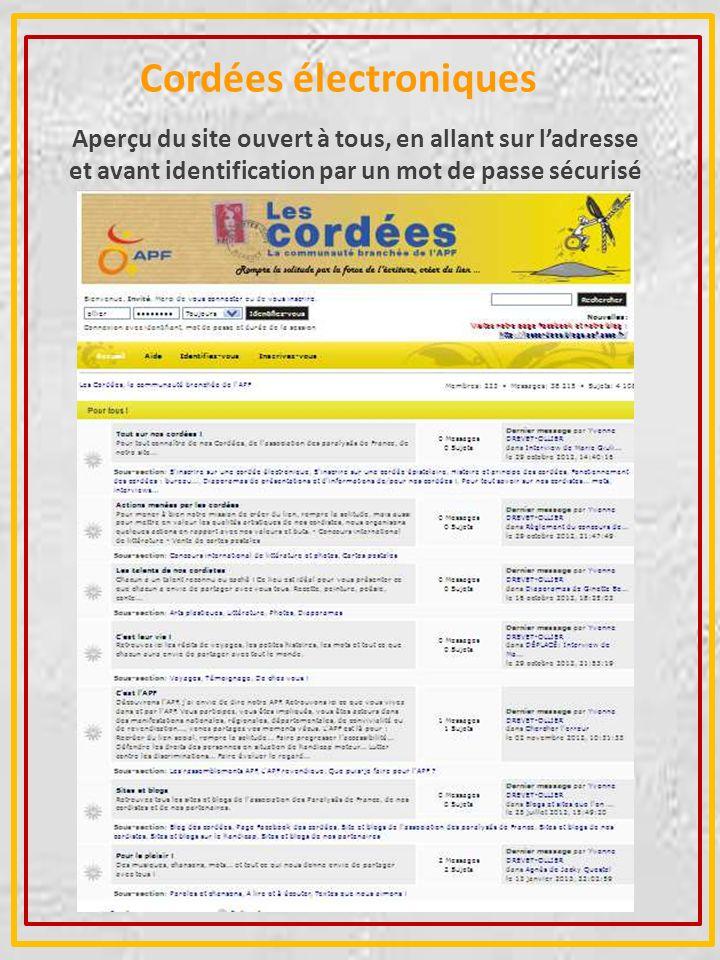 Cordées électroniques Aperçu du site ouvert à tous, en allant sur ladresse et avant identification par un mot de passe sécurisé http://cordees.apf.asso.fr/ http://cordees.apf.asso.fr/