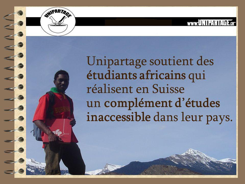Unipartage soutient des étudiants africains qui réalisent en Suisse un complément détudes inaccessible dans leur pays.