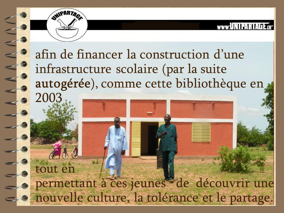 afin de financer la construction dune infrastructure scolaire (par la suite autogérée), comme cette bibliothèque en 2003 tout en permettant à ces jeun