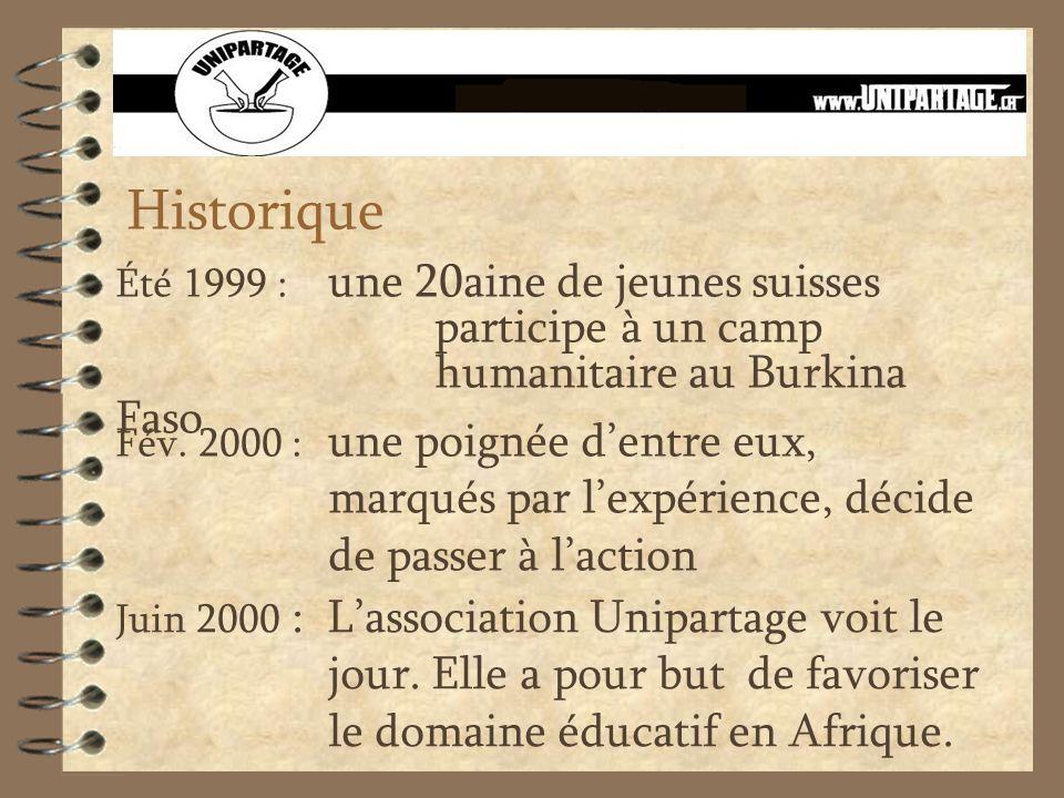 Historique Été 1999 : une 20aine de jeunes suisses participe à un camp humanitaire au Burkina Faso Fév. 2000 : une poignée dentre eux, marqués par lex
