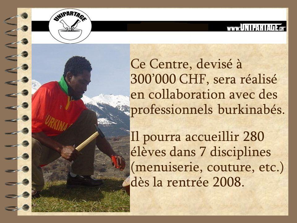 Ce Centre, devisé à 300000 CHF, sera réalisé en collaboration avec des professionnels burkinabés.