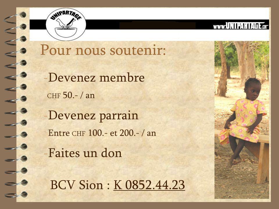 Pour nous soutenir: - Devenez membre CHF 50.- / an - Devenez parrain Entre CHF 100.- et 200.- / an - Faites un don BCV Sion : K 0852.44.23