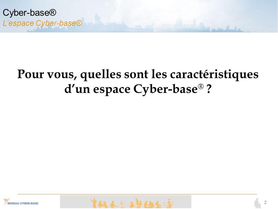 2 Pour vous, quelles sont les caractéristiques dun espace Cyber-base ® .