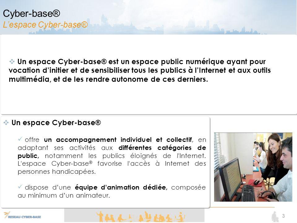 3 Un espace Cyber-base® offre un accompagnement individuel et collectif, en adaptant ses activités aux différentes catégories de public, notamment les publics éloignés de l Internet.