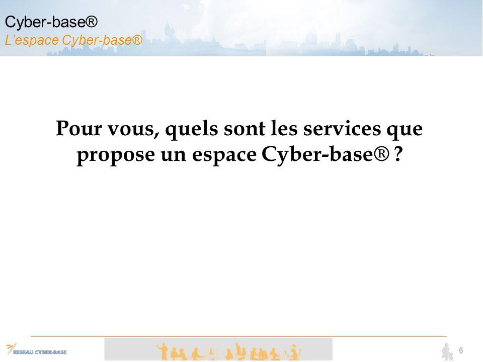 6 Pour vous, quels sont les services que propose un espace Cyber-base®