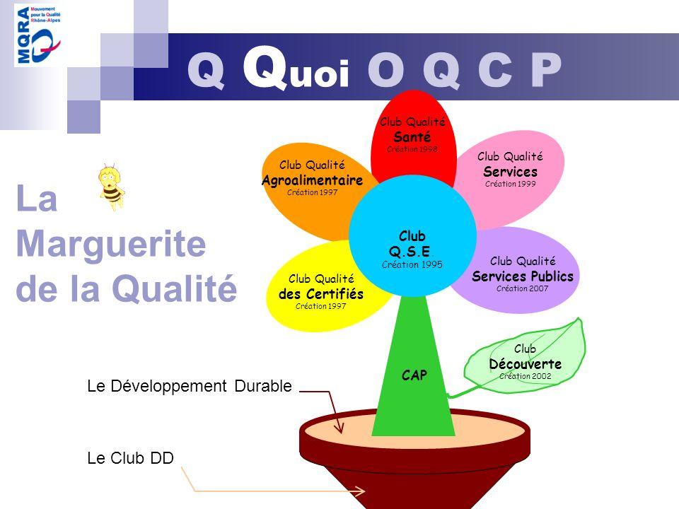 La Marguerite de la Qualité Club Q.S.E. Création 1995 Club Qualité Services Publics Création 2007 Club Qualité Services Création 1999 Club Qualité San