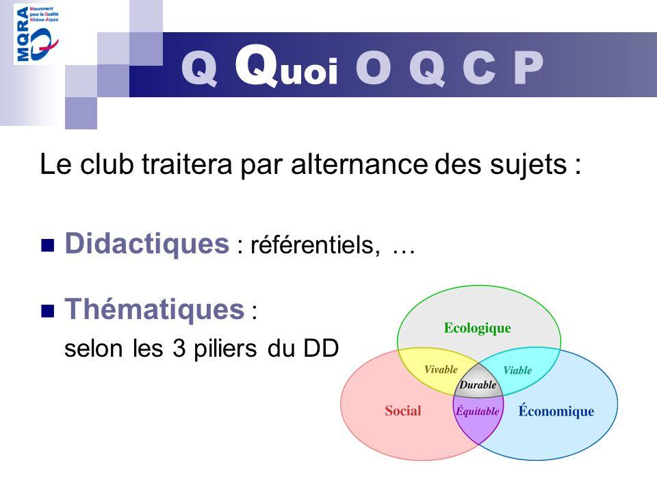 Le club traitera par alternance des sujets : Didactiques : référentiels, … Thématiques : selon les 3 piliers du DD Q Q uoi O Q C P