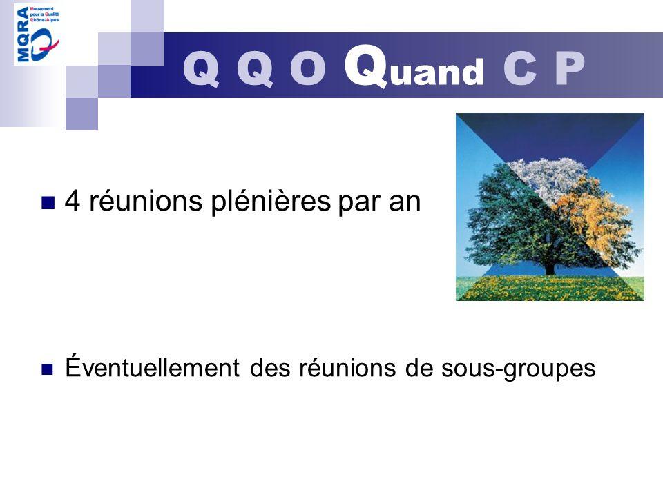 4 réunions plénières par an Éventuellement des réunions de sous-groupes Q Q O Q uand C P