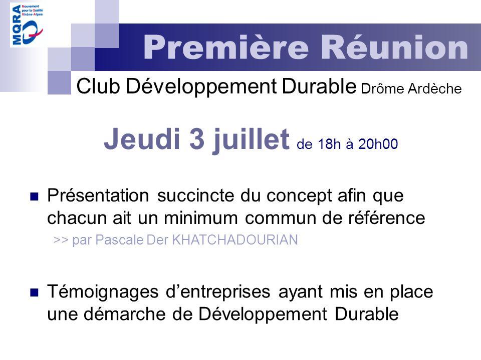 Jeudi 3 juillet de 18h à 20h00 Première Réunion Présentation succincte du concept afin que chacun ait un minimum commun de référence >> par Pascale De