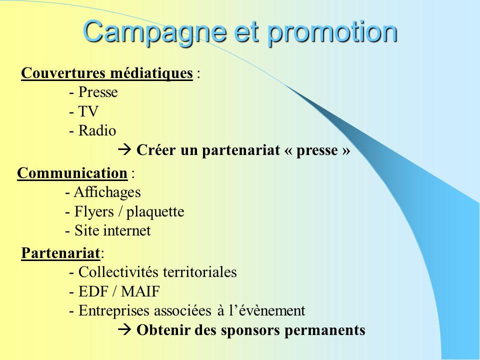 Campagne et promotion Couvertures médiatiques : - Presse - TV - Radio Créer un partenariat « presse » Communication : - Affichages - Flyers / plaquett
