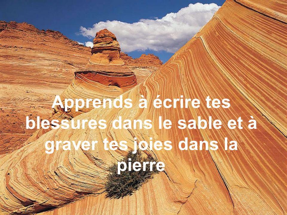 Il lui répondit alors : « Jai écrit sur le sable que tu mavais frappé, mais jai gravé dans la pierre que tu mavais sauvé. Car une mauvaise action doit
