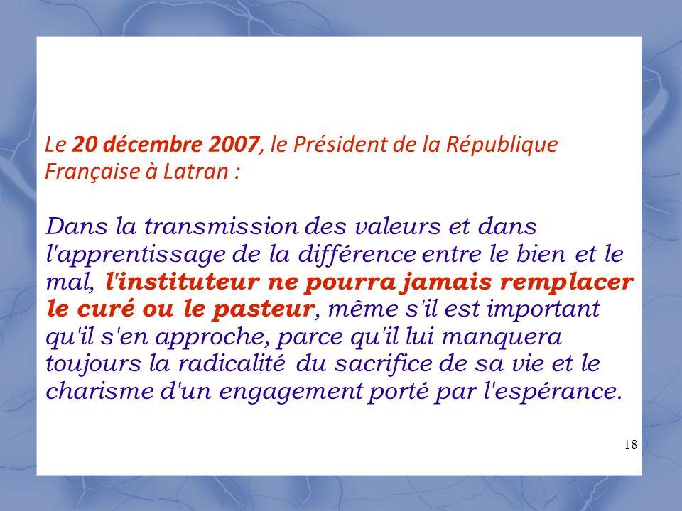 18 Le 20 décembre 2007, le Président de la République Française à Latran : Dans la transmission des valeurs et dans l'apprentissage de la différence e