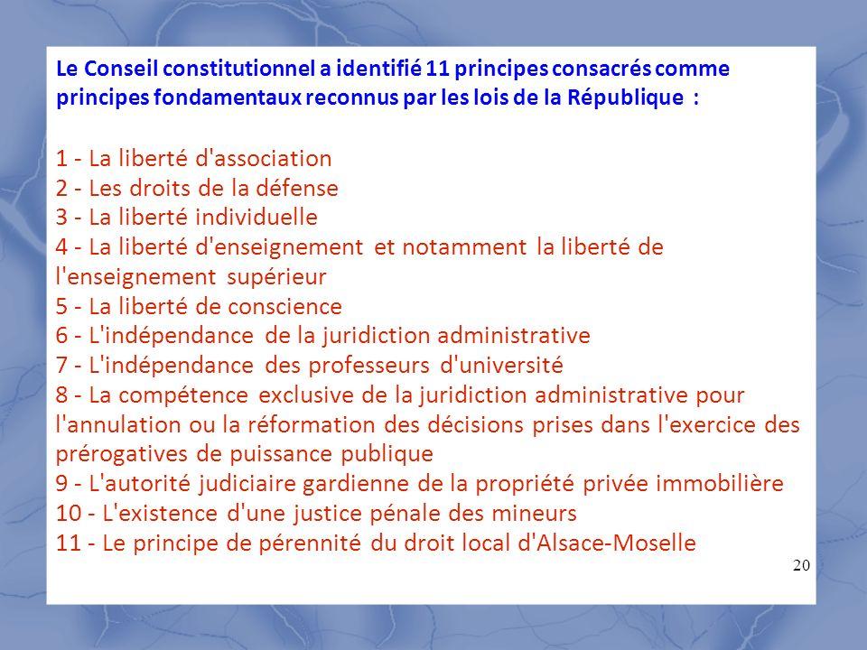 20 1 - La liberté d'association 2 - Les droits de la défense 3 - La liberté individuelle 4 - La liberté d'enseignement et notamment la liberté de l'en