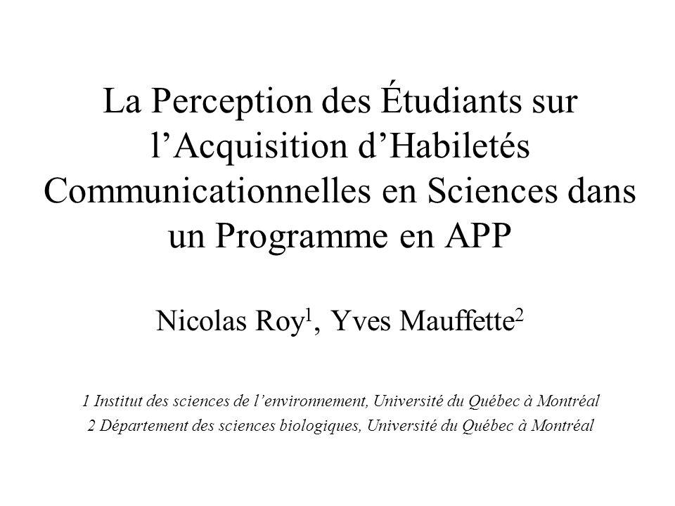 La Perception des Étudiants sur lAcquisition dHabiletés Communicationnelles en Sciences dans un Programme en APP Nicolas Roy 1, Yves Mauffette 2 1 Ins