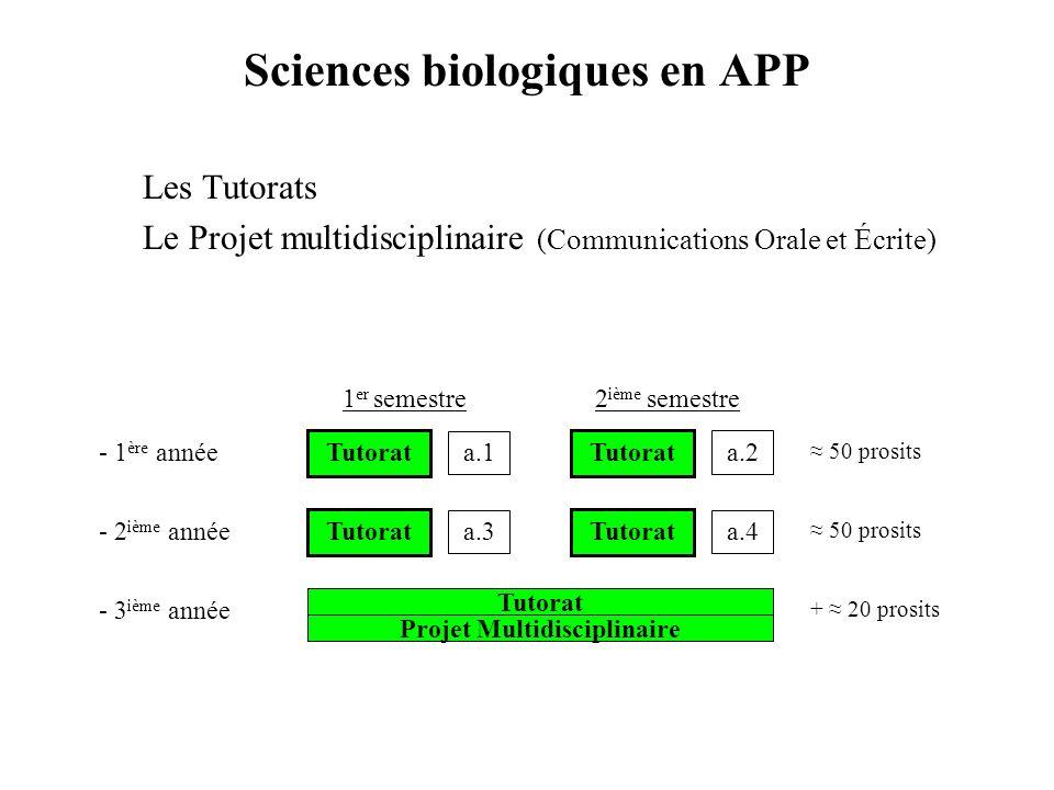 Sciences biologiques en APP Les Tutorats Le Projet multidisciplinaire (Communications Orale et Écrite) - 1 ère année - 2 ième année - 3 ième année Tut