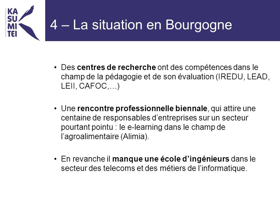 4 – La situation en Bourgogne Des centres de recherche ont des compétences dans le champ de la pédagogie et de son évaluation (IREDU, LEAD, LEII, CAFOC,…) Une rencontre professionnelle biennale, qui attire une centaine de responsables dentreprises sur un secteur pourtant pointu : le e-learning dans le champ de lagroalimentaire (Alimia).