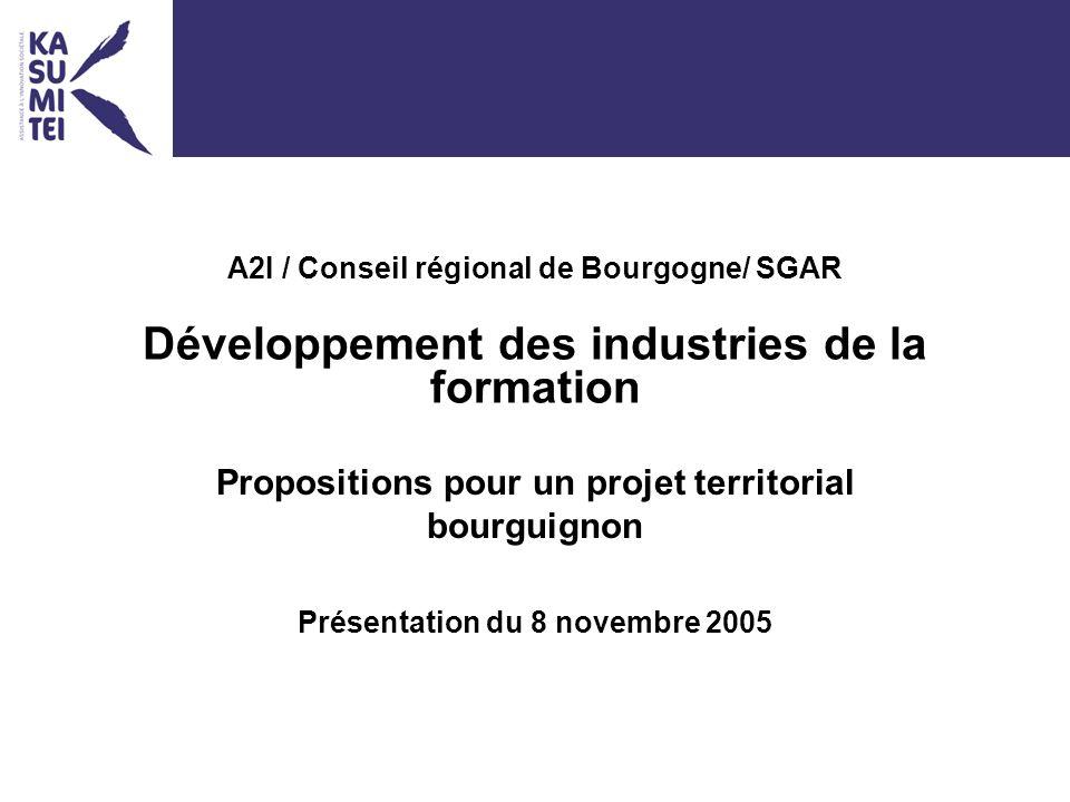 A2I / Conseil régional de Bourgogne/ SGAR Développement des industries de la formation Propositions pour un projet territorial bourguignon Présentation du 8 novembre 2005