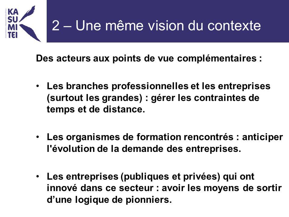 2 – Une même vision du contexte Des acteurs aux points de vue complémentaires : Les branches professionnelles et les entreprises (surtout les grandes) : gérer les contraintes de temps et de distance.