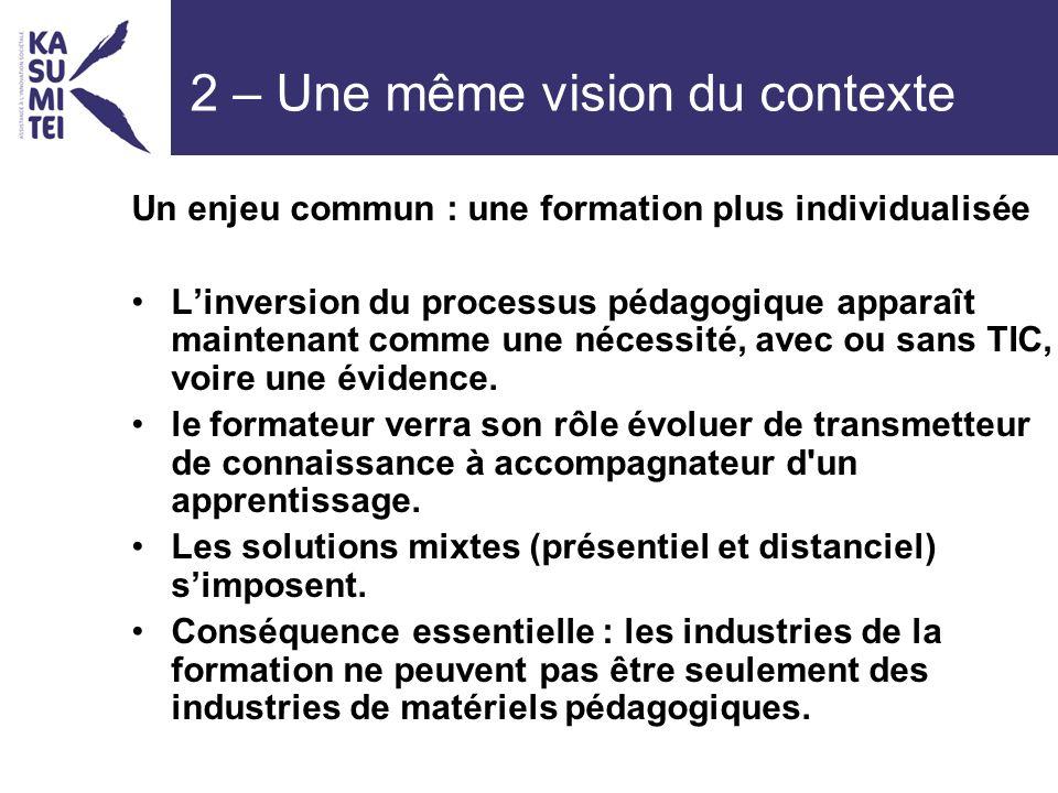 2 – Une même vision du contexte Un enjeu commun : une formation plus individualisée Linversion du processus pédagogique apparaît maintenant comme une nécessité, avec ou sans TIC, voire une évidence.