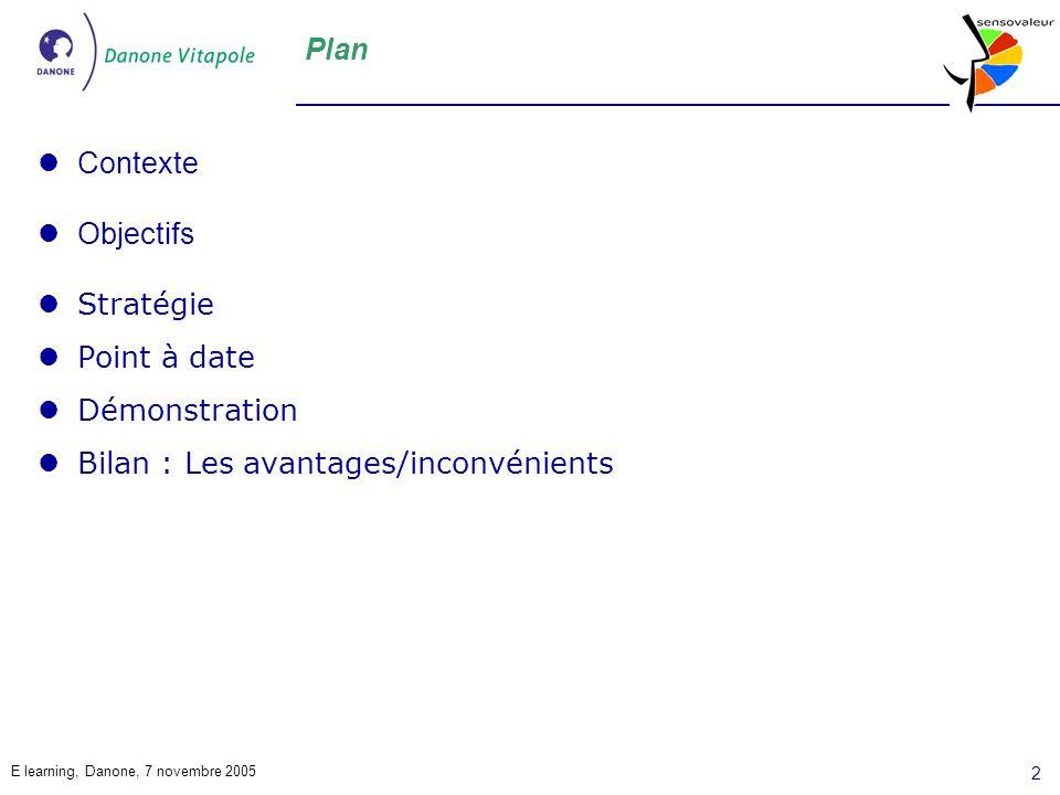 E learning, Danone, 7 novembre 2005 2 Plan Contexte Objectifs Stratégie Point à date Démonstration Bilan : Les avantages/inconvénients
