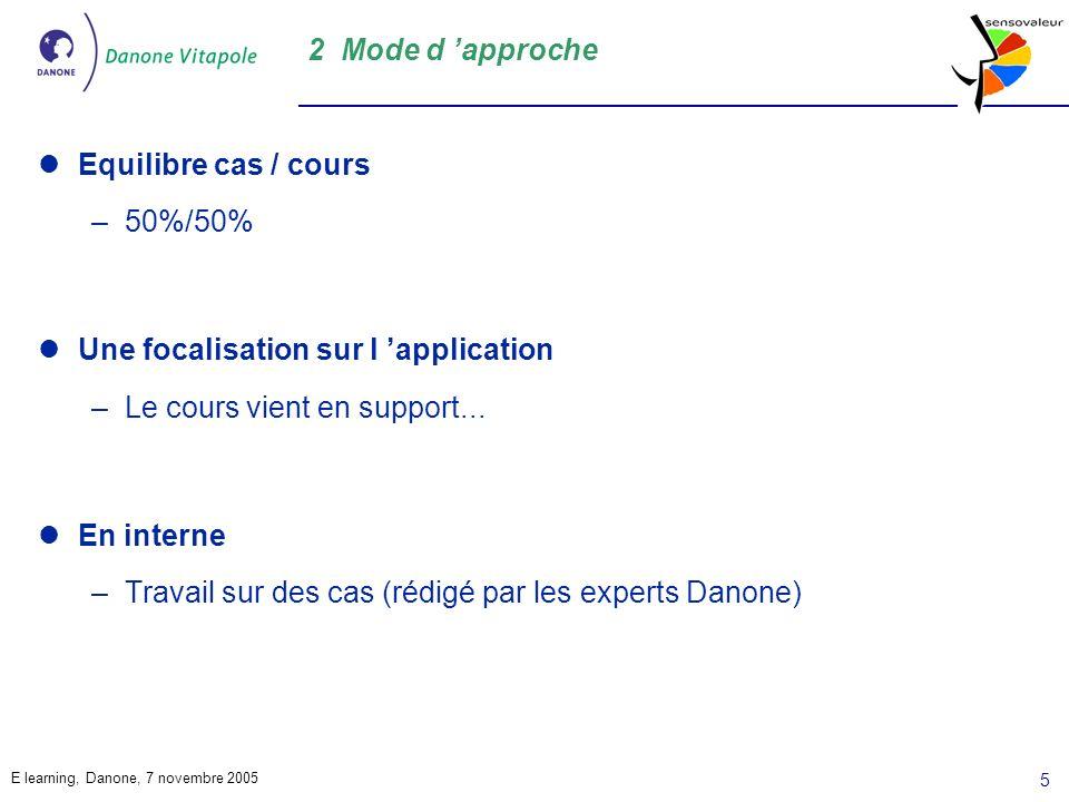 E learning, Danone, 7 novembre 2005 5 2 Mode d approche Equilibre cas / cours –50%/50% Une focalisation sur l application –Le cours vient en support...