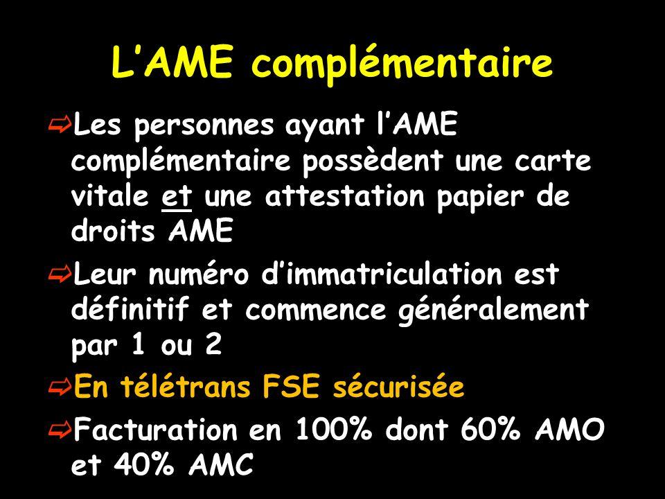 LAME complémentaire Les personnes ayant lAME complémentaire possèdent une carte vitale et une attestation papier de droits AME Leur numéro dimmatricul