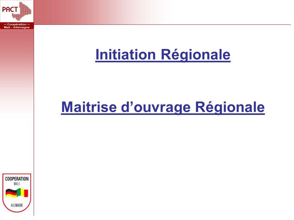 Initiation Régionale Maitrise douvrage Régionale