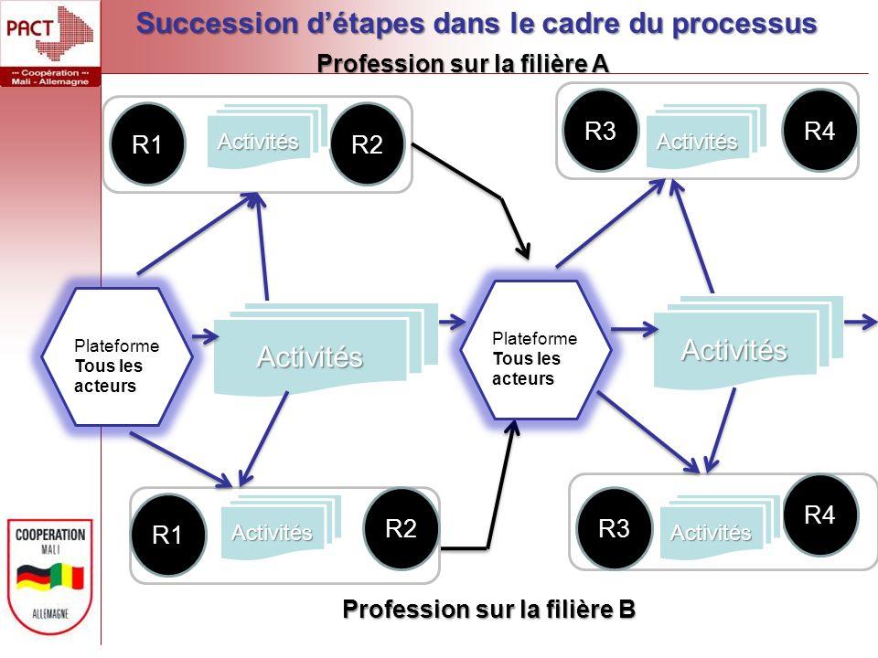 R1R2Activités R3R4 Activités Activités Plateforme Tous les acteurs Activités Plateforme Tous les acteurs R1 R2 Activités R4 R3 Activités Profession sur la filière A Profession sur la filière B Succession détapes dans le cadre du processus