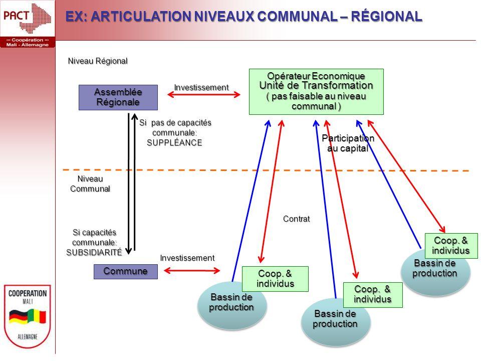 Niveau Régional Niveau Communal Assemblée Régionale Commune Opérateur Economique Unité de Transformation ( pas faisable au niveau communal ) Bassin de production InvestissementInvestissement Coop.