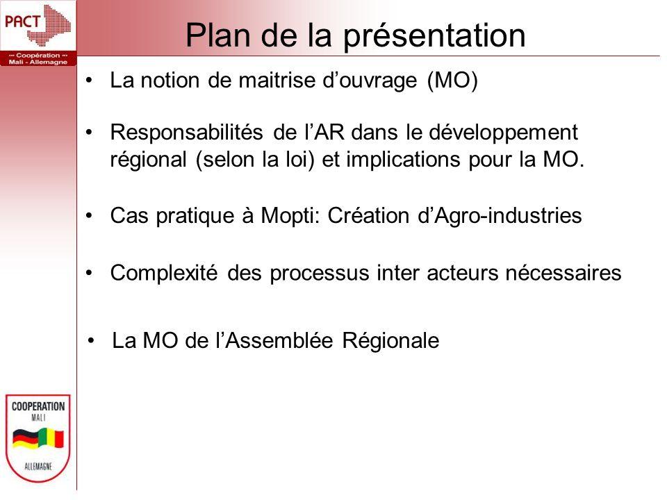 Plan de la présentation La notion de maitrise douvrage (MO) Responsabilités de lAR dans le développement régional (selon la loi) et implications pour la MO.
