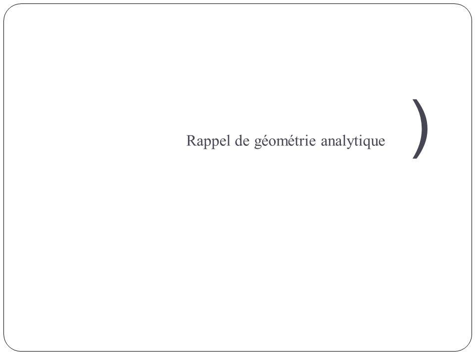 ) Rappel de géométrie analytique
