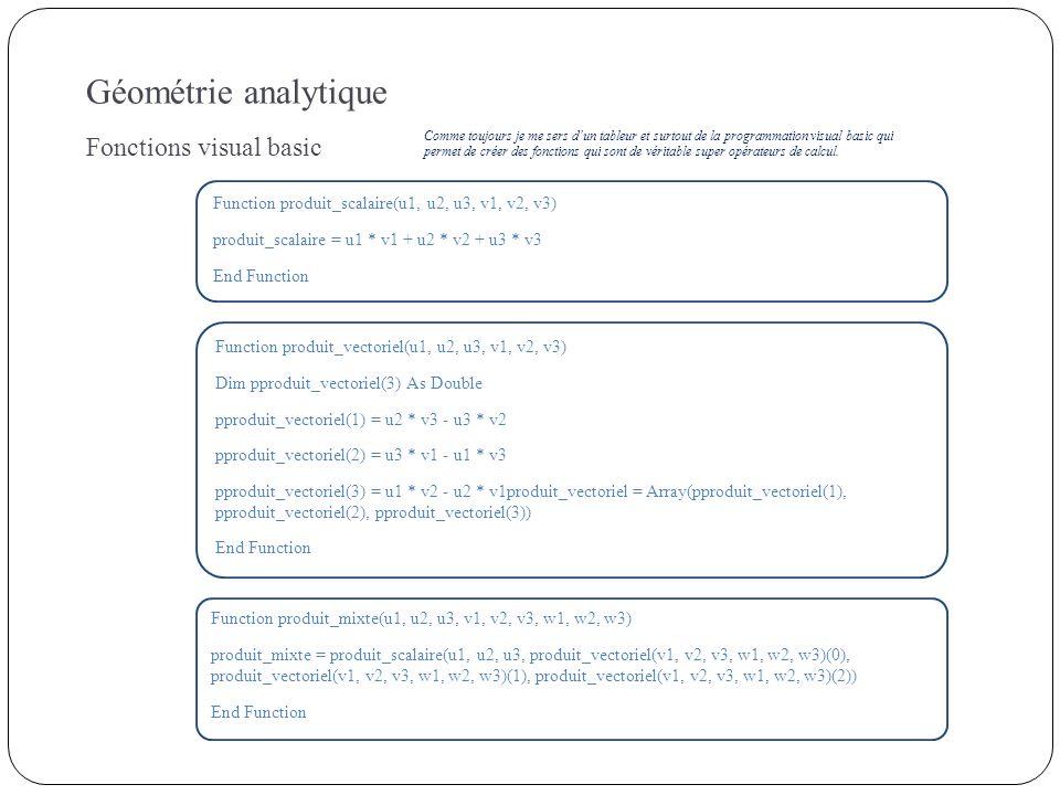 Géométrie analytique Fonctions visual basic Function produit_scalaire(u1, u2, u3, v1, v2, v3) produit_scalaire = u1 * v1 + u2 * v2 + u3 * v3 End Funct