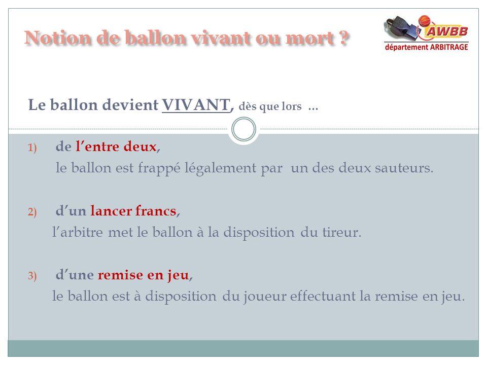 Le ballon devient VIVANT, dès que lors … 1) de lentre deux, le ballon est frappé légalement par un des deux sauteurs. 2) dun lancer francs, larbitre m